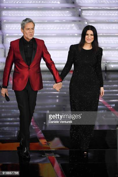 Claudio Baglioni and Laura Pausini attend the closing night of the 68 Sanremo Music Festival on February 10 2018 in Sanremo Italy