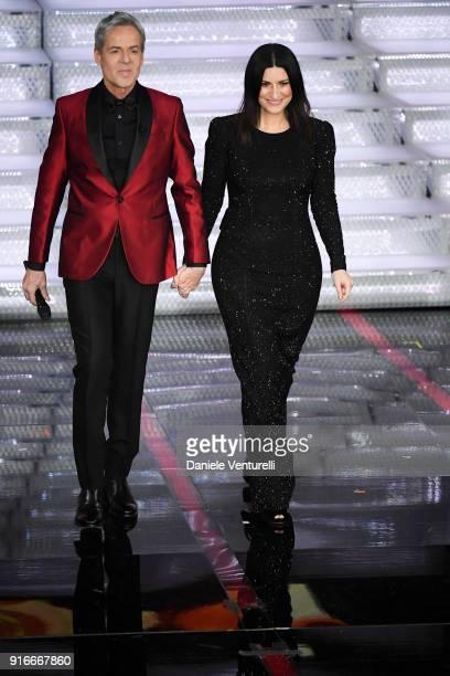 Claudio Baglioni and Laura Pausini attend the closing night of the 68. Sanremo Music Festival on February 10, 2018 in Sanremo, Italy.
