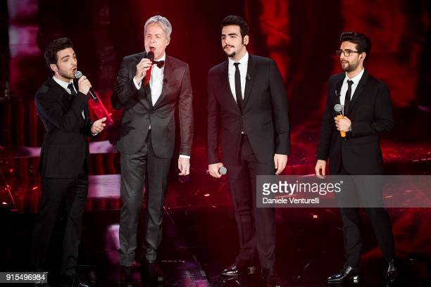 Claudio Baglioni and ll Volo attend the second night of the 68 Sanremo Music Festival on February 7 2018 in Sanremo Italy