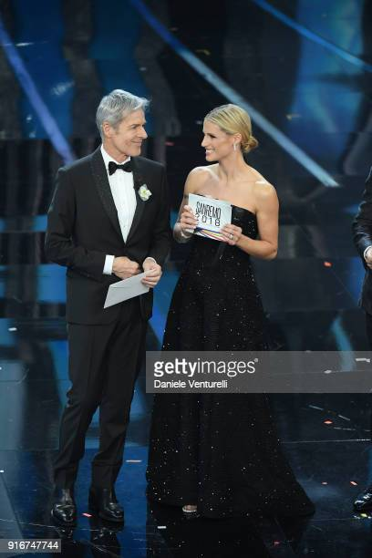 Claudio Baglioni and Michelle Hunziker and attend the closing night of the 68 Sanremo Music Festival on February 10 2018 in Sanremo Italy