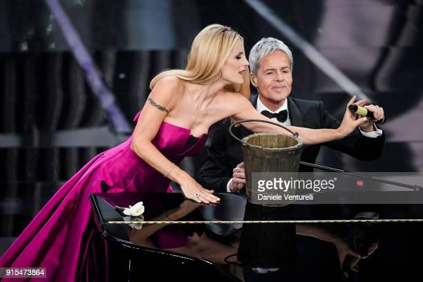 Claudio Baglioni and Michelle Hunziker attend the second night of the 68. Sanremo Music Festival on February 7, 2018 in Sanremo, Italy.