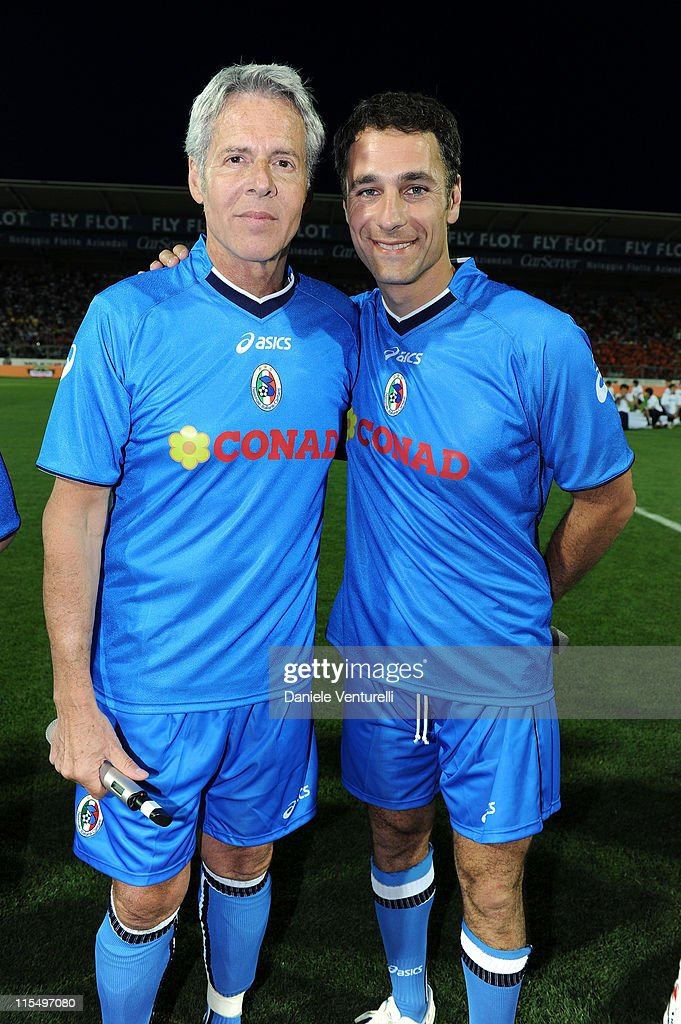 Claudio Baglioni (L) and Raoul Bova of Nazionale Cantanti attend the XIX Partita Del Cuore charity football game at on May 25, 2010 in Modena, Italy.