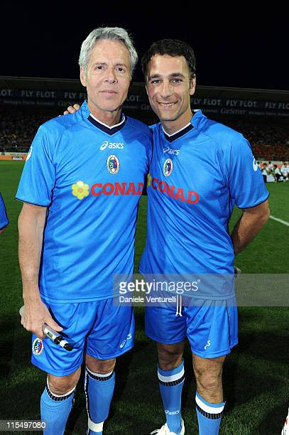 Claudio Baglioni and Raoul Bova of Nazionale Cantanti attend the XIX Partita Del Cuore charity football game at on May 25 2010 in Modena Italy