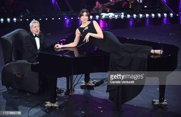 Claudio Baglioni and Virginia Raffaele on stage during the second night of the 69th Sanremo Music Festival at Teatro Ariston on February 06 2019 in...