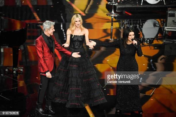 Claudio Baglioni Laura Pausini and Michelle Hunziker attend the closing night of the 68 Sanremo Music Festival on February 10 2018 in Sanremo Italy