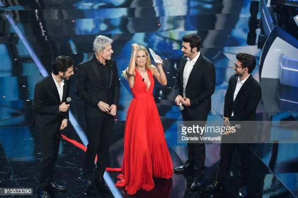 Claudio Baglioni Michelle Hunziker and ll Volo attend the second night of the 68 Sanremo Music Festival on February 7 2018 in Sanremo Italy