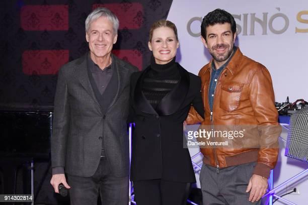 Claudio Baglioni, Michelle Hunziker and Pierfrancesco Favino attend the 68. Sanremo Music Festival Press Gala on February 4, 2018 in Sanremo, Italy.