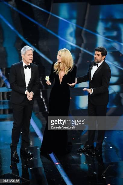 Claudio Baglioni Michelle Hunziker and Pierfrancesco Favino attend the first night of the 68 Sanremo Music Festival on February 6 2018 in Sanremo...