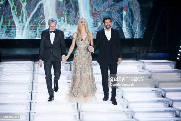 Claudio Baglioni, Michelle Hunziker and Pierfrancesco Favino attend the second night of the 68. Sanremo Music Festival on February 7, 2018 in...
