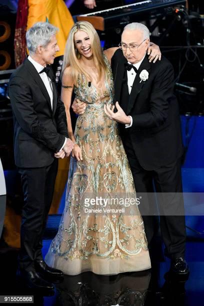 Claudio Baglioni, Michelle Hunziker and Pippo Baudo attend the second night of the 68. Sanremo Music Festival on February 7, 2018 in Sanremo, Italy.