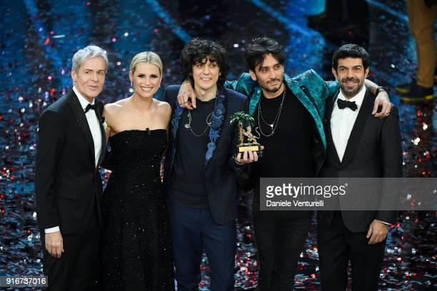 Claudio Baglioni Michelle Hunziker Ermal Meta Fabrizio Moro and Pierfrancesco Favino attend the closing night of the 68 Sanremo Music Festival on...