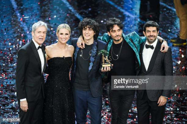 Claudio Baglioni Michelle Hunziker Ermal Meta Fabrizio Moro and Pierfrancesco Favino attend the closing night of the 68 Sanremo Music Festival on...