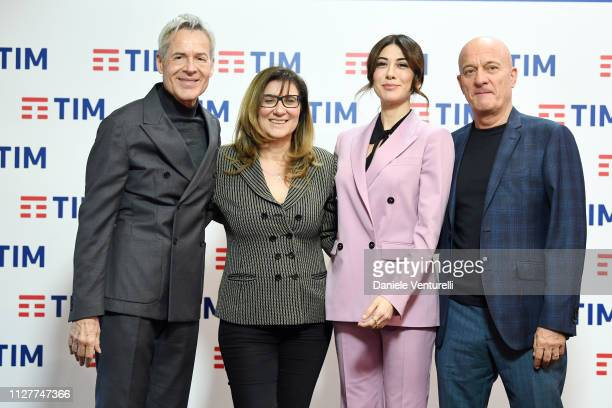Claudio Baglioni Tesera De Santis Claudio Bisio and Virginia Raffaele attend a photocall on the second day of the 69 Sanremo Music Festival at Teatro...