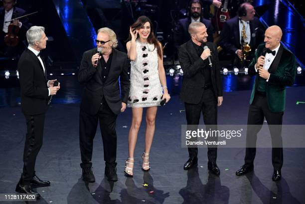 Claudio Baglioni, Umberto Tozzi, Virginia Raffaele, Raf and Claudio Bisio on stage during the third night of the 69th Sanremo Music Festival at...