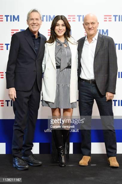 Claudio Baglioni, Virginia Raffaele and Claudio Bisio attend a photocall on the fourth day of the 69. Sanremo Music Festival at Teatro Ariston on...
