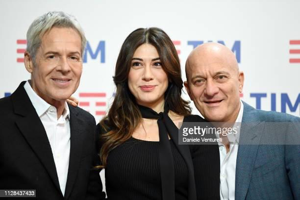 Claudio Baglioni, Virginia Raffaele and Claudio Bisio attends a photocall on the last day of the 69. Sanremo Music Festival at Teatro Ariston on...