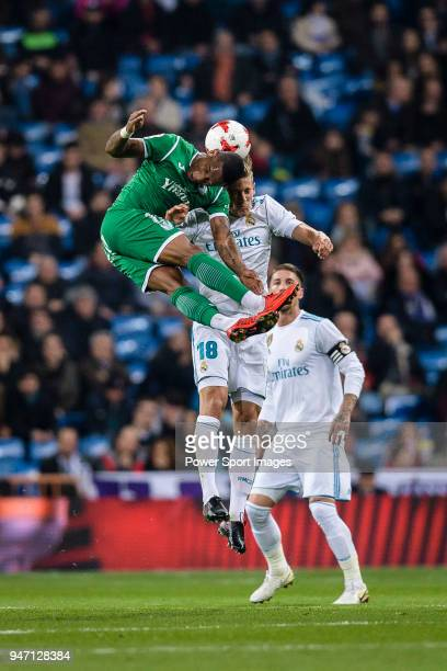 Claudio Beauvue of CD Leganes fights for the ball with Marcos Llorente of Real Madrid during La Copa del Rey 201718 match between Real Madrid vs CD...