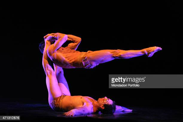 Claudio Bertolino and Alessandro Pietrolini artists of the artistic company the Sonics Flying Performers during a performance that shows off their...