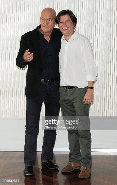 Claudio Bisio and director Massimo Martelli attend Bar Sport Milan Photocall on October 19 2011 in Milan Italy