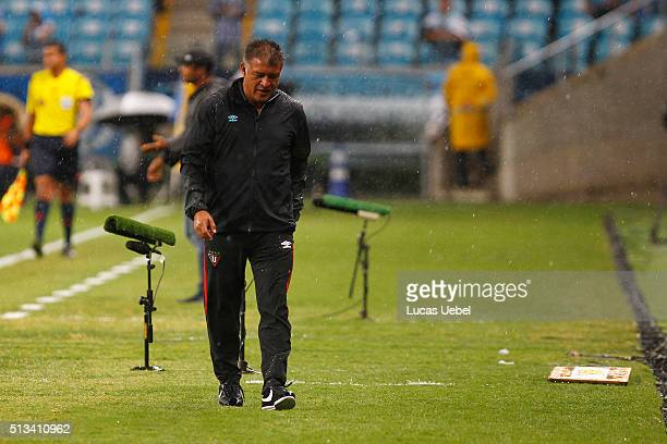 Claudio Borghi coach of Liga de Quito during the match Gremio v Liga de Quito as part of Copa Bridgestone Libertadores 2016 at Arena do Gremio on...