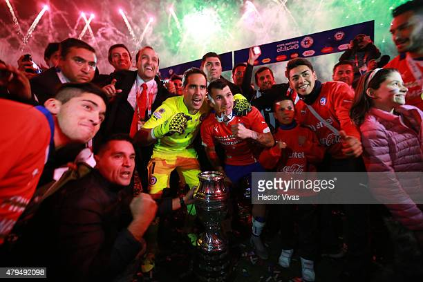 Claudio Bravo and Gary Medel of Chile celebrate after winning the 2015 Copa America Chile Final match between Chile and Argentina at Nacional Stadium...