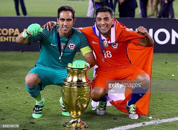 Claudio Bravo and Gonzalo Jara of Chile celebrate after they won the Copa America Centenario Championship match against Argentina at MetLife Stadium...