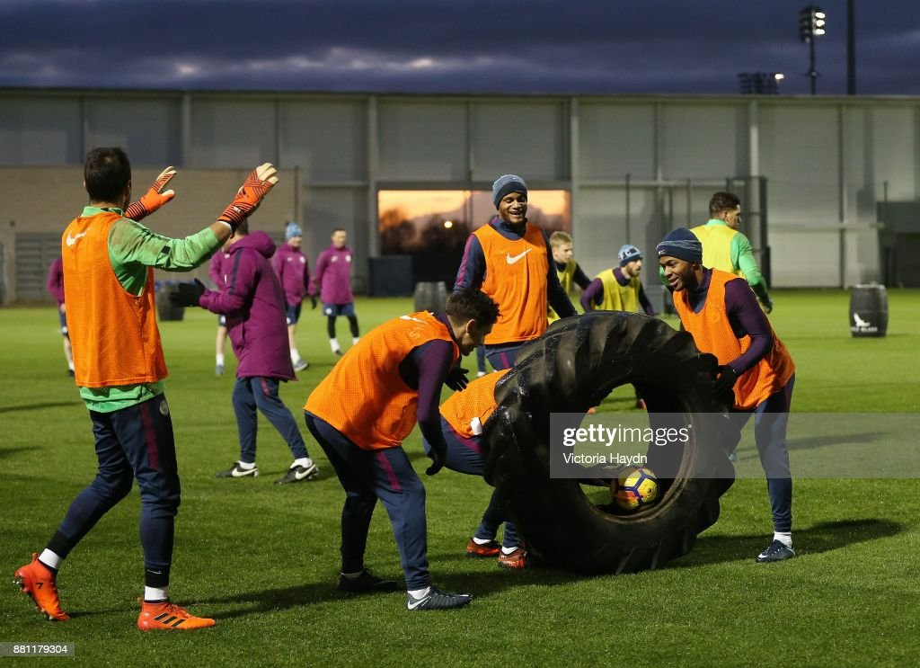 Claudio Bravo, Brahim Diaz, Vincent Kompany and Raheem Sterling in action during training at Manchester City Football Academy on November 28, 2017 in Manchester, England.