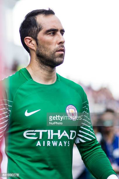 01 Claudio Bravo from Chile of Manchester City during the Costa Brava Trophy match between Girona FC and Manchester City at Estadi de Montilivi on...