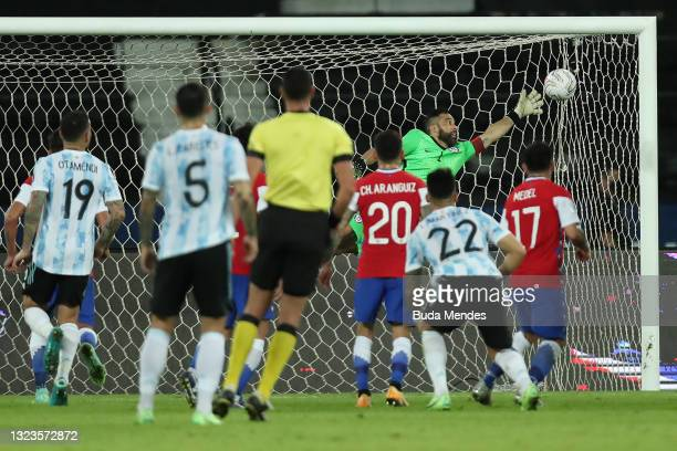 Claudio Bravo goalkeeper of Chile fails to stop the first goal of Argentina scored by Lionel Messi during a Group A match between Argentina and Chile...