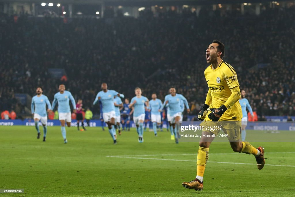 Claudio Bravo Manchester City celebrates after saving the winning penalty during the Carabao Cup Quarter-Final match between here Leicester City v Manchester City at The King Power Stadium on December 19, 2017 in Leicester, England.