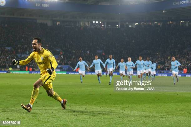 Claudio Bravo Manchester City celebrates after saving the winning penalty during the Carabao Cup QuarterFinal match between here Leicester City v...