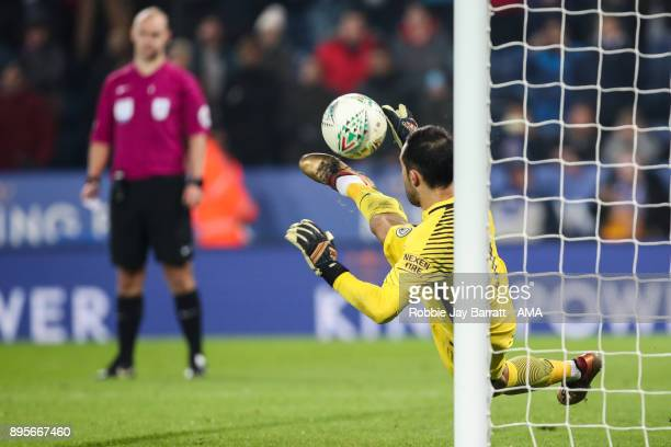 Claudio Bravo Manchester City saves a penalty during the Carabao Cup QuarterFinal match between here Leicester City v Manchester City at The King...