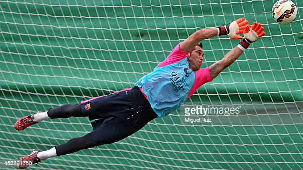 Claudio Bravo of Barcelona in action during a training session at the Ciutat Esportiva on August 20 2014 in BarcelonaSpain
