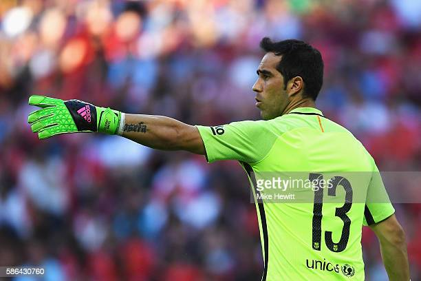 Claudio Bravo of Barcelona in action during the International Champions Cup match between Liverpool and Barcelona at Wembley Stadium on August 6 2016...
