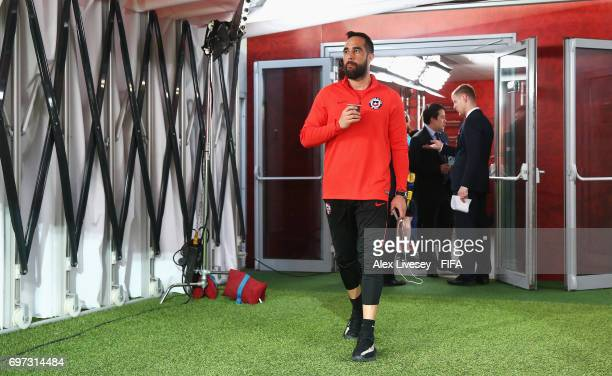 Claudio Bravo of Chile arrives at the stadium prior to the FIFA Confederations Cup Russia 2017 Group B match between Cameroon and Chile at Spartak...