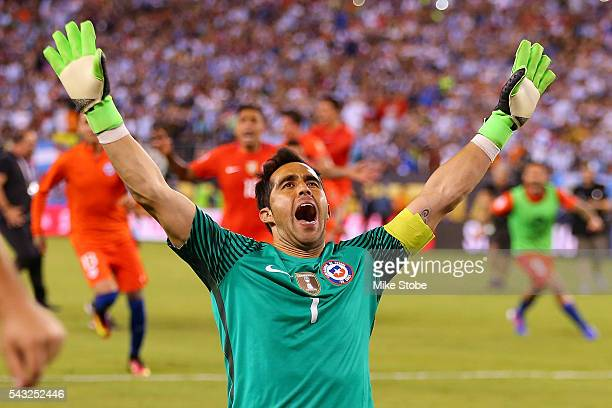 Claudio Bravo of Chile celebrates after defeating the Argentina to win the Copa America Centenario Championship match at MetLife Stadium on June 26...