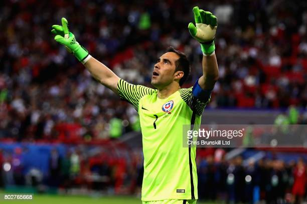 Claudio Bravo of Chile celebrates after saving a penalty in the shoot out during the FIFA Confederations Cup Russia 2017 Semi-Final between Portugal...