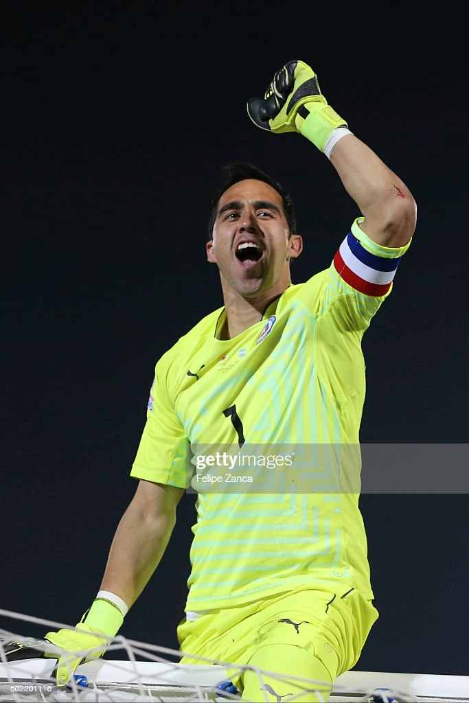 Claudio Bravo of Chile celebrates after winning the 2015 Copa America Chile Final match between Chile and Argentina at Nacional Stadium on July 04, 2015 in Santiago, Chile.