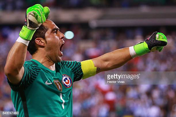 Claudio Bravo of Chile celebrates during the championship match between Argentina and Chile at MetLife Stadium as part of Copa America Centenario US...