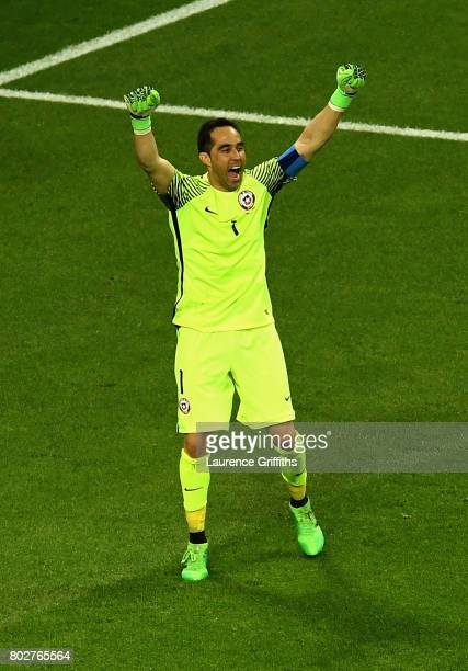 Claudio Bravo of Chile celebrates winning the penalty shoot out after the FIFA Confederations Cup Russia 2017 SemiFinal between Portugal and Chile at...