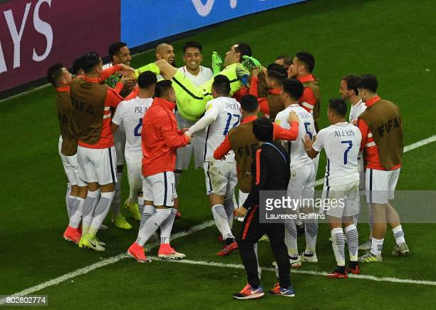 Claudio Bravo of Chile celebrates winning the penalty shoot out with his Chile team mates during the FIFA Confederations Cup Russia 2017 SemiFinal...