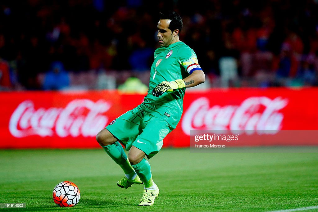 Claudio Bravo of Chile controls the ball during a match between Chile and Brasil as part of FIFA 2018 World Cup Qualifier at Estadio Nacional on October 08, 2015 in Santiago, Chile.
