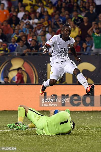 Claudio Bravo of Chile covers a shot by Marlos Moreno of Colombia during a semifinal match in the 2016 Copa America Centernario at Soldier Field on...