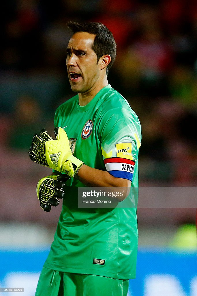 Claudio Bravo of Chile gestures during a match between Chile and Brasil as part of FIFA 2018 World Cup Qualifier at Estadio Nacional on October 08, 2015 in Santiago, Chile.