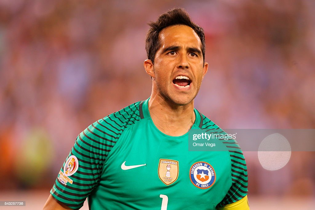b7b51f7e60d Claudio Bravo of Chile gestures during the penalty shootout as part ...