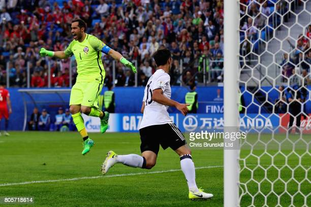 Claudio Bravo of Chile reacts after Lars Stindl of Germany scored the opening goal during the FIFA Confederations Cup Russia 2017 Final match between...