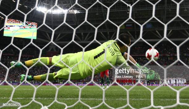 Claudio Bravo of Chile saves Joao Moutinho of Portugal penalty during the penatly shoot out during the FIFA Confederations Cup Russia 2017 SemiFinal...