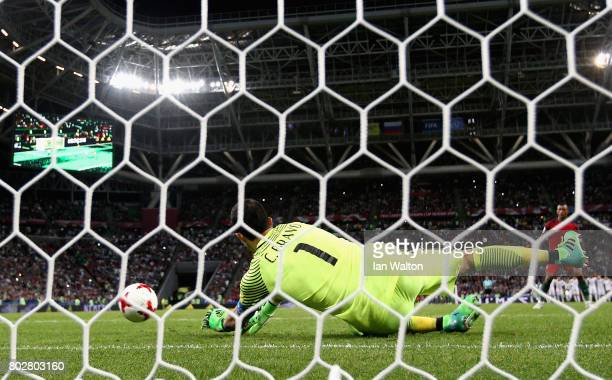 Claudio Bravo of Chile saves Nani of Portugal penalty during the penalty shoot out during the FIFA Confederations Cup Russia 2017 SemiFinal between...