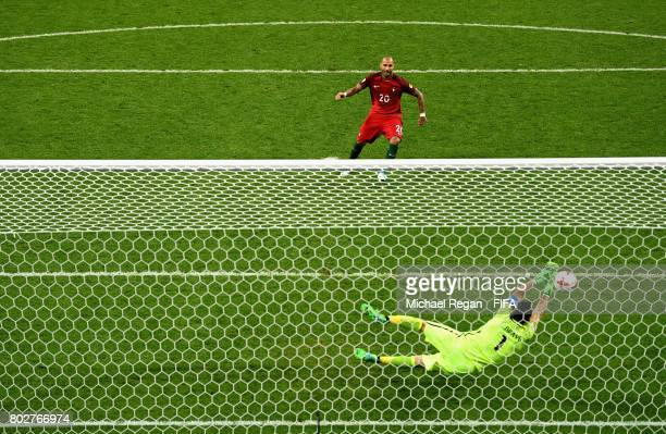 Claudio Bravo of Chile saves Ricardo Quaresma of Portugal peanlty during the penalty shoot out during the FIFA Confederations Cup Russia 2017...