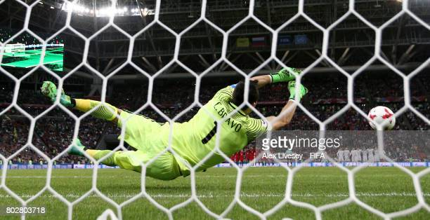 Claudio Bravo of Chile saves Ricardo Quaresma of Portugal penalty during the penalty shoot out during the FIFA Confederations Cup Russia 2017...